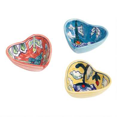 Floral Ceramic Heart Trinket Dishes Set of 3