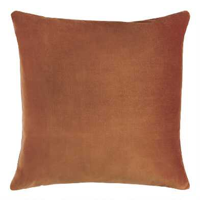 Large Copper Velvet Throw Pillow