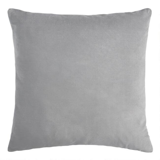 Large Gray Velvet Throw Pillow