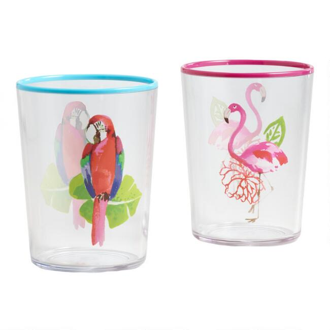 Tropical Birds Santiago Acrylic Tumblers Set Of 2