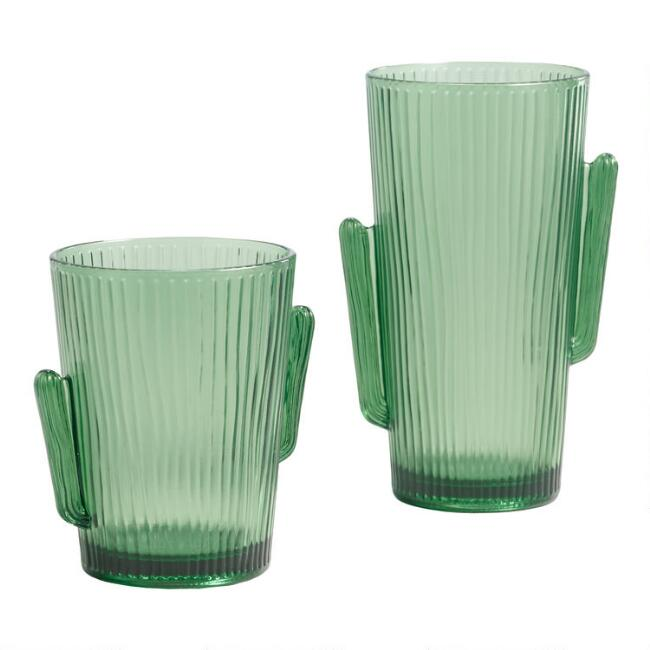 Green Cactus Figural Acrylic Cups Set of 6