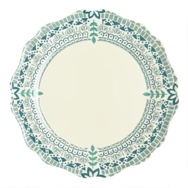 Aqua Floral Algarve Melamine Dinner Plates Set of 4