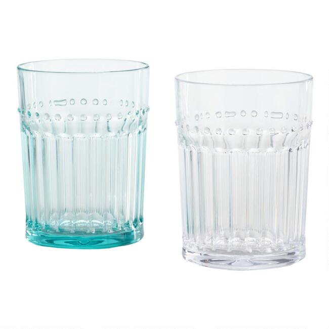 Beaded Acrylic Double Old Fashioned Glasses Set of 6