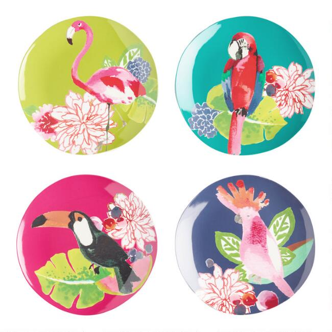 Tropical Birds Santiago Melamine Salad Plates 4 Pack
