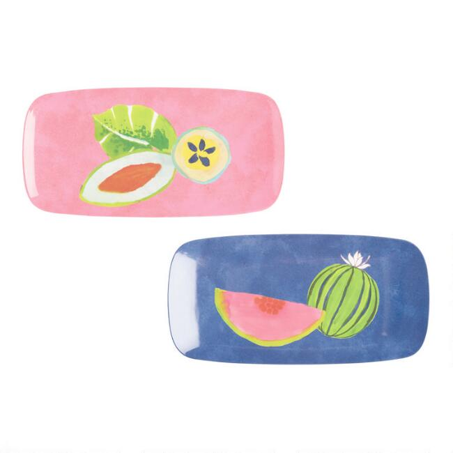 Small Tropical Fruit Santiago Melamine Serving Trays 2 Pack