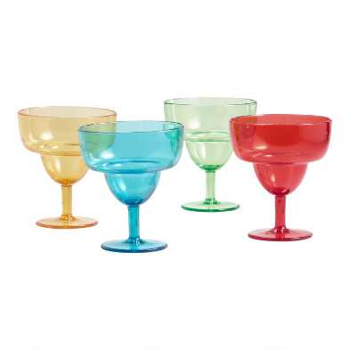 Multicolor Stacking Acrylic Margarita Glasses 4 Pack