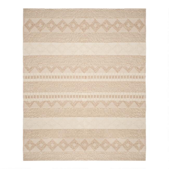 Beige And Ivory Geo Stripe Wool Blend Lucille Area Rug