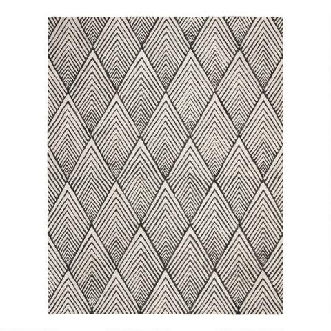 Gray And Ivory Diamond Chevron Wool Karina Area Rug