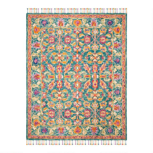 Multicolored Turquoise Floral Wool Mallory Area Rug