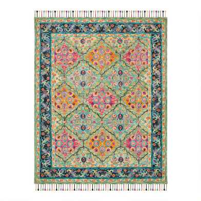 Multicolored Green Floral Wool Amelia Area Rug