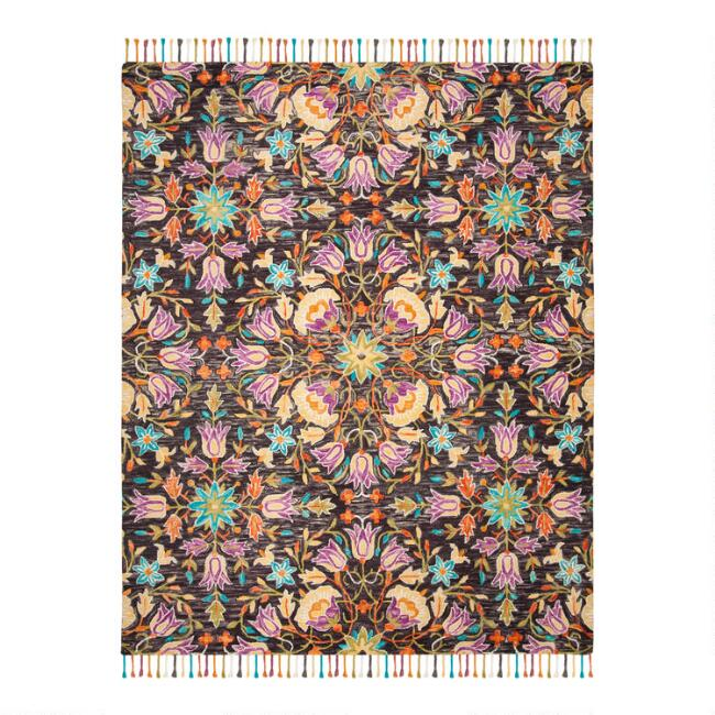 Black And Purple Floral Wool Brianna Area Rug