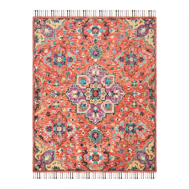 Red And Gold Floral Wool Layla Area Rug