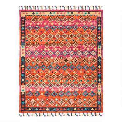 Orange And Pink Geo Wool Gillian Area Rug
