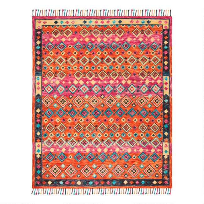 Orange And Pink Geo Wool Gillian Area Rug World Market
