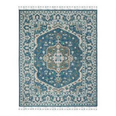 Blue And Gray Floral Medallion Wool Lorena Area Rug