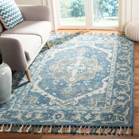 Blue And Gray Floral Medallion Wool Lorena Area Rug World Market