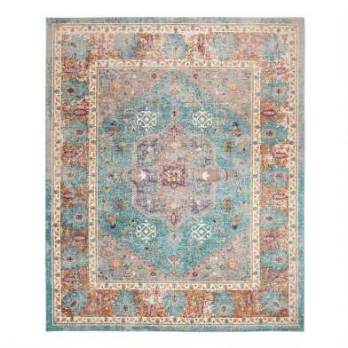 Blue And Cream Medallion Harper Area Rug