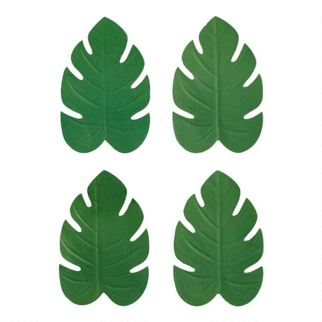 Green Tropical Leaf Coasters 4 Pack