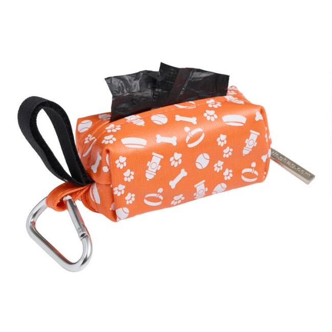 Orange and White Dog Poop Bag Dispenser with Bags