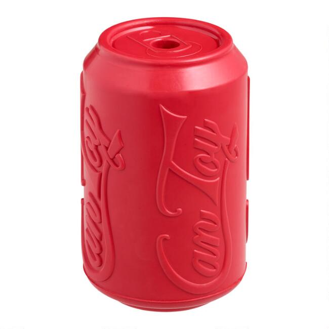 Red Soda Can Rubber Dog Toy
