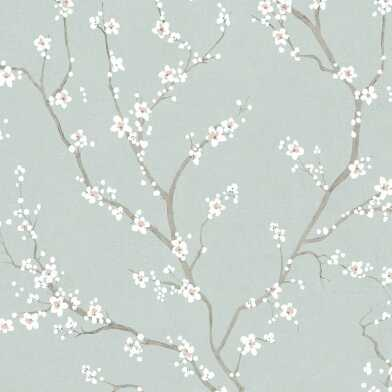 Pale Blue Cherry Blossom Peel And Stick Wallpaper