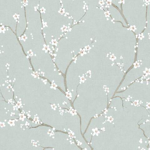 Pale Blue Cherry Blossom Peel And Stick Wallpaper World Market