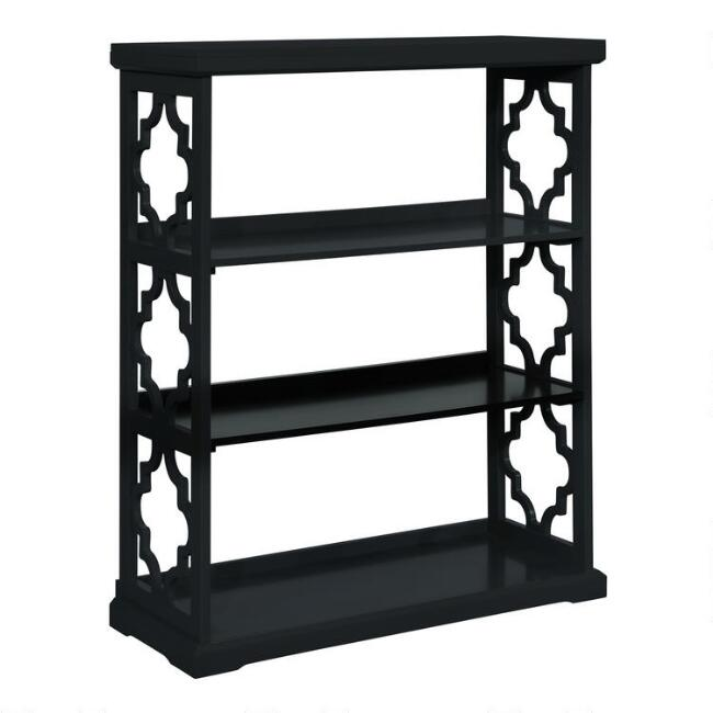 Black Wood Quatrefoil Abbey Bookshelf