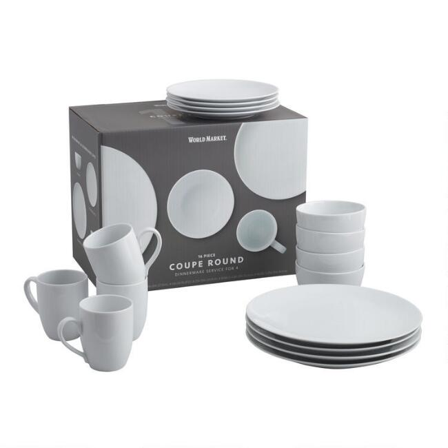 White Porcelain Coupe Dinnerware 16 Piece Set
