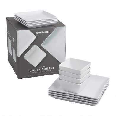 Square White Porcelain Coupe 12 Piece Dinnerware Set