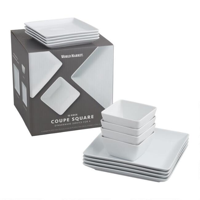 Square White Porcelain Coupe Dinnerware 12 Piece Set