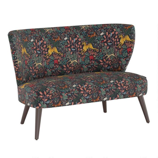 Navy Forest Frolic Kenway Upholstered Loveseat