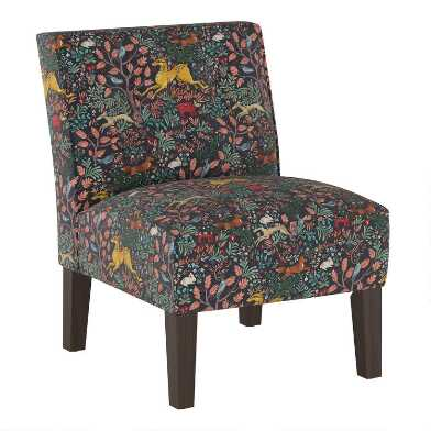 Navy Forest Frolic Randen Upholstered Chair