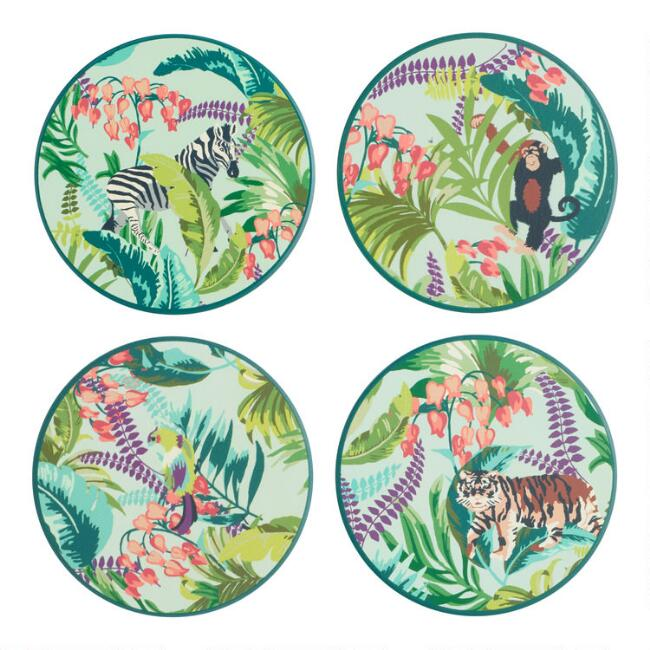 Ceramic Radiant Jungle Coasters 4 Pack