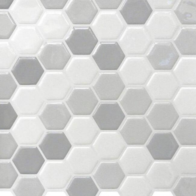 White and Gray Hexagon Peel and Stick Tiles