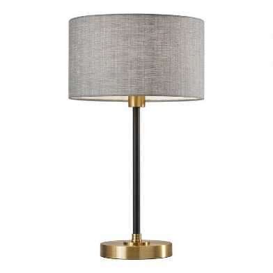 Antiqued Brass and Black Troy Table Lamp