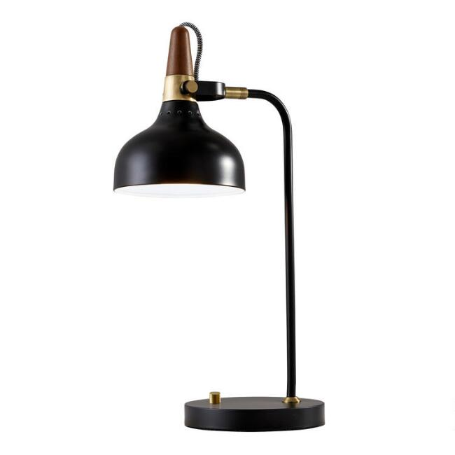Metal and Walnut Wood Adjustable Wilson Task Lamp