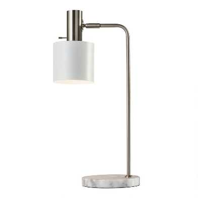 White Marble And Steel Adjustable Martin Desk Lamp