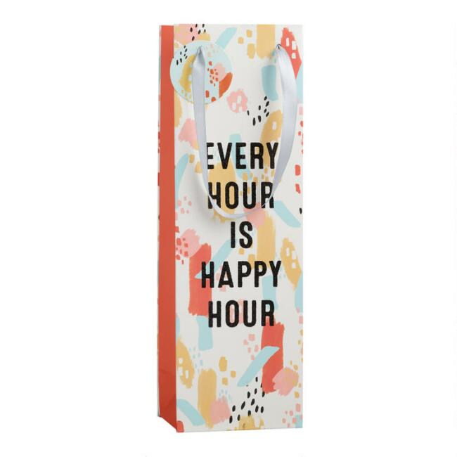 Multicolored Every Hour Is Happy Hour Wine Bag