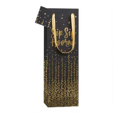 Black and Gold Sip Sip Hooray Wine Bag