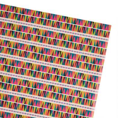 Multicolored Boho Geo Wrapping Paper Roll