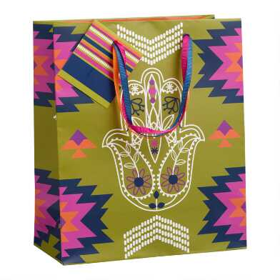 Medium Yellow Boho Hamsa Gift Bag