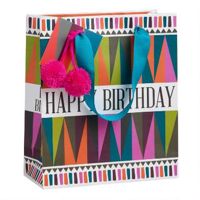 Small Multicolored Boho Geo Happy Birthday Gift Bag Set of 2