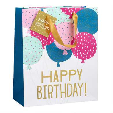 Large Happy Birthday Balloons Gift Bag