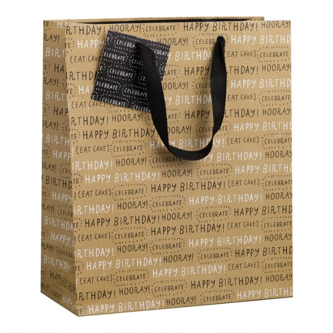 Large Brown Happy Birthday Kraft Gift Bag