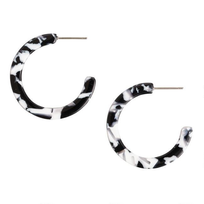 Black and White Acrylic Hoop Earrings