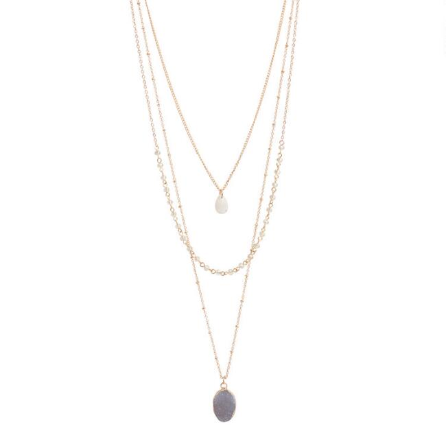 Gold Multilayer Quartz and Druzy Necklace