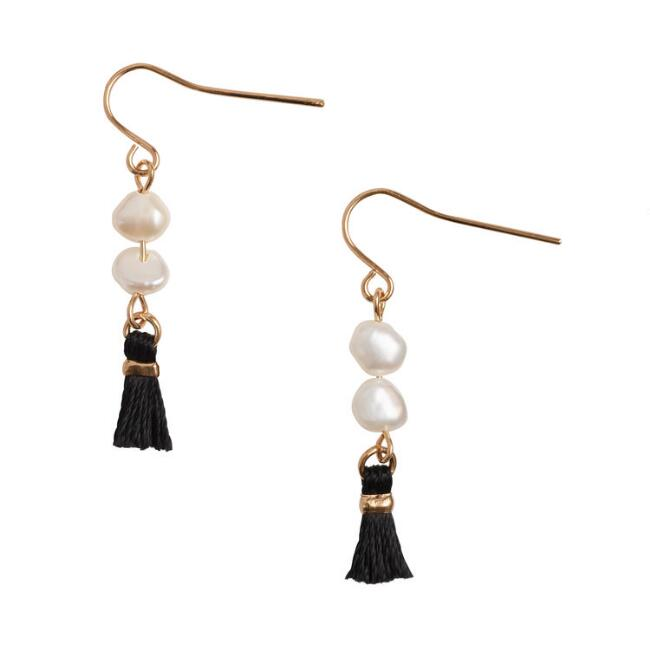 Gold Pearl and Tassel Earrings