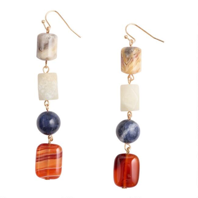 Natural Stone Four Bead Drop Earrings