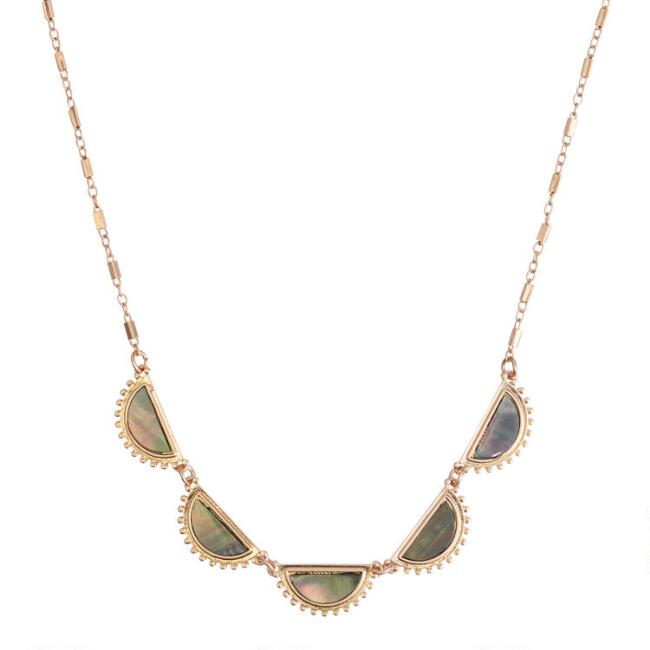 Gold Mother of Pearl Crescent Bib Necklace