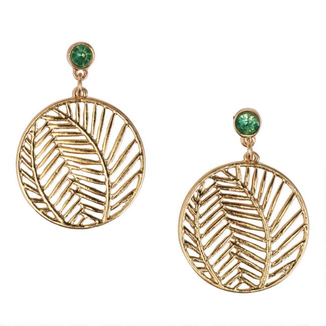 Gold Leaf Circle Drop Earrings